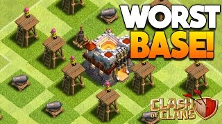"""Clash of Clans - 25 WORST BASES IN HISTORY! """"WTF!"""" CoC Funny Rushed Troll Base Designs!"""
