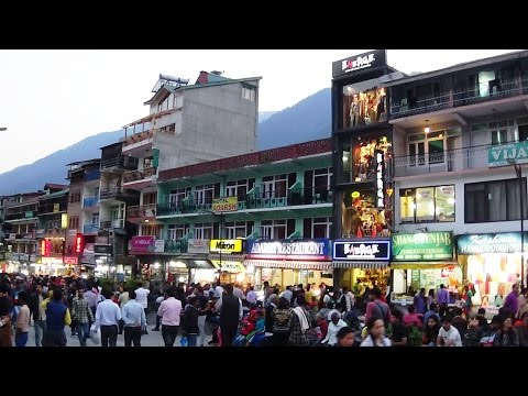 Manali Mall Road - SBI ATM And Hotel Kunzam Of HP Tourism