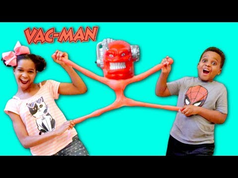 Thumbnail: GIANT VAC MAN vs Shiloh and Shasha - STRETCH ARMSTRONG ENEMY! - Onyx Kids