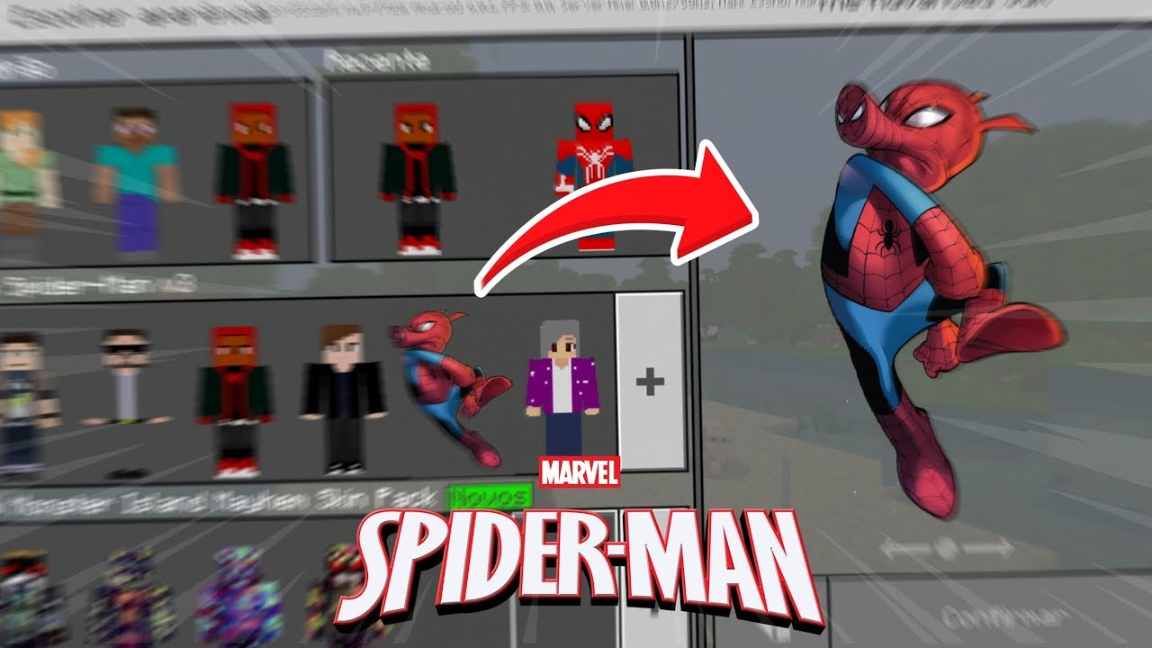 SPIDER-MAN ALL SUITS SKIN PACK HD FOR MINECRAFT PE ! (Minecraft Pocket  Edition)