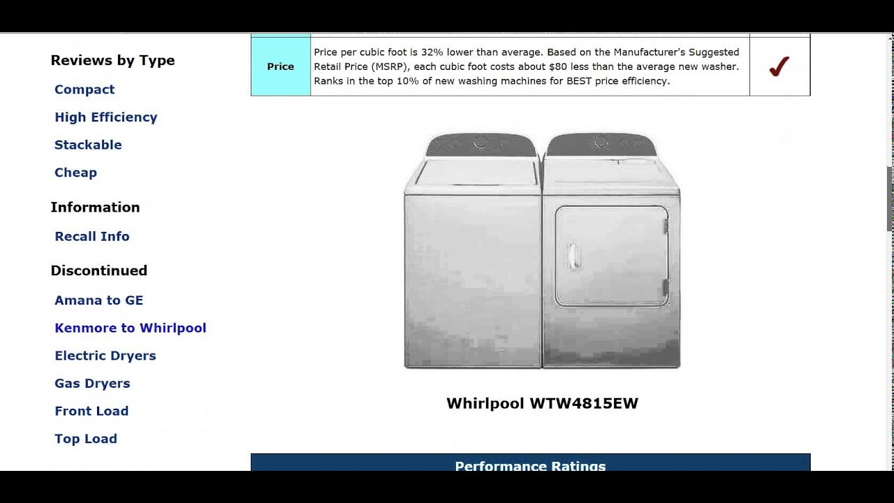 Whirlpool Fscr70410 Review Whirlpool Wtw4815ew Top Load Washer Review - Updated - Youtube