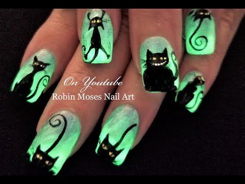 Glowing Black Cats! Easy Halloween DIY Nail Art Design Tutorial