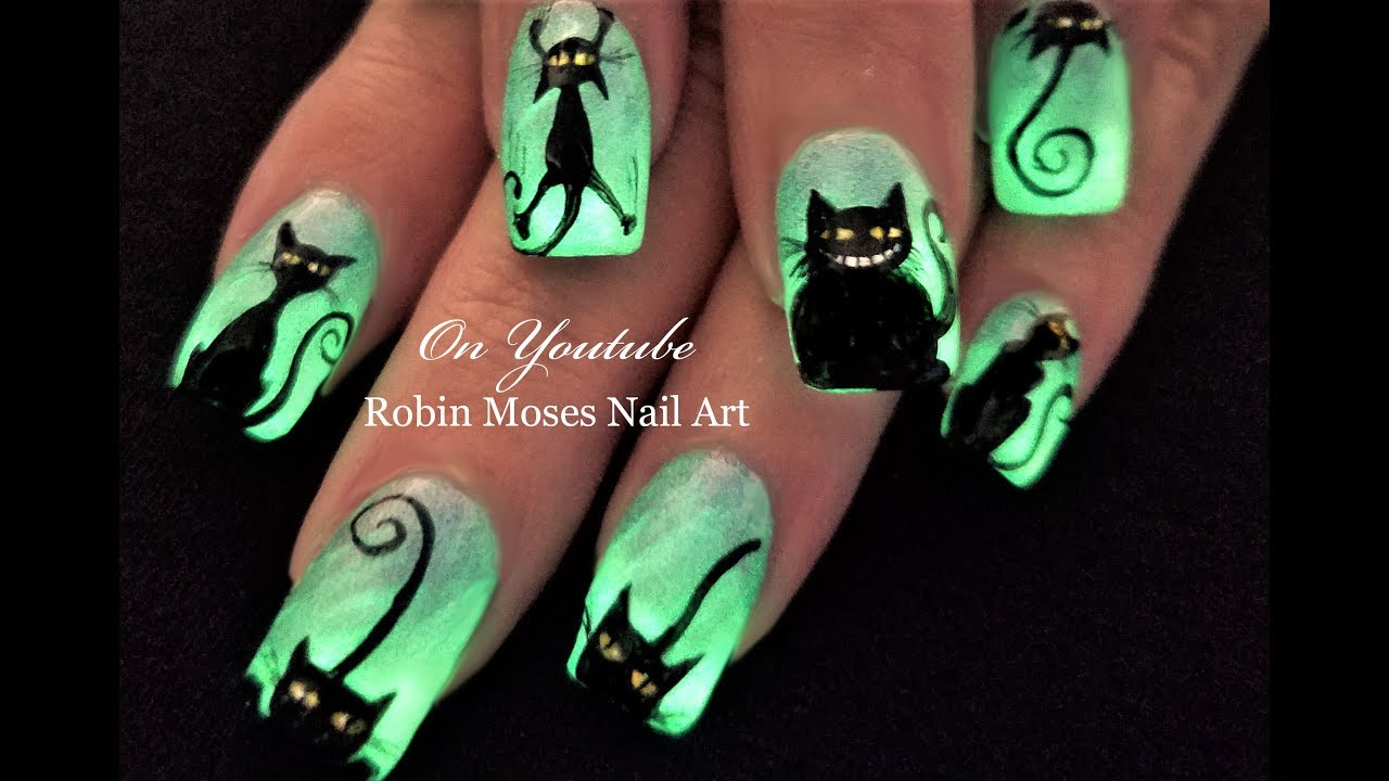 Glowing Black Cats! Easy Halloween DIY Nail Art Design ...
