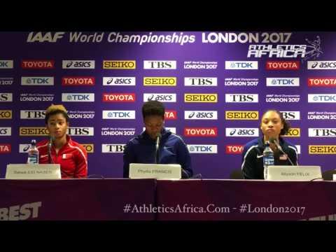 Winners Press Conference: 400m Women - London 2017 IAAF Worlds - Allyson Felix, Salwa Eid Naser
