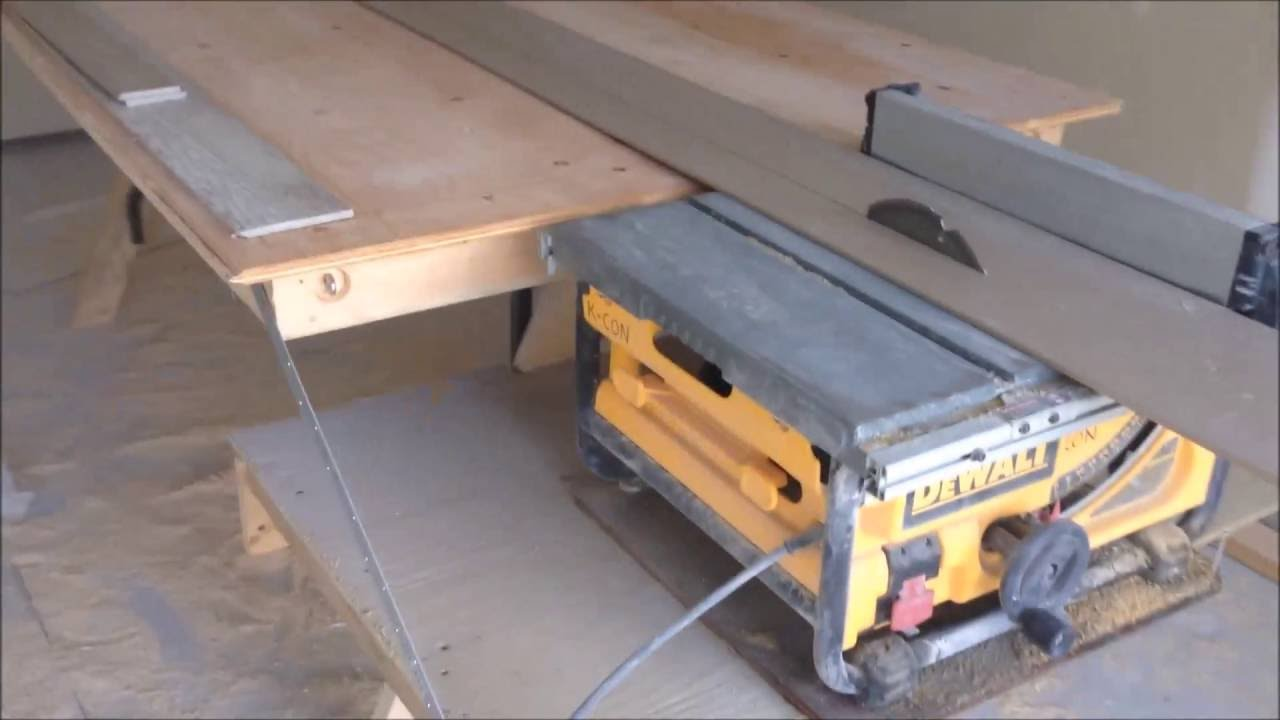 Folding Out Feed Table for a Portable Table Saw - YouTube