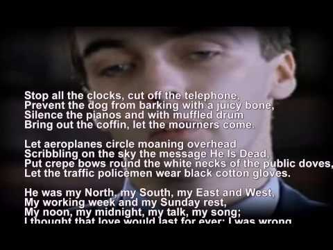 Funeral Blues - Stop the Clocks - WH Auden - Four Weddings and a Funeral - scrolling words