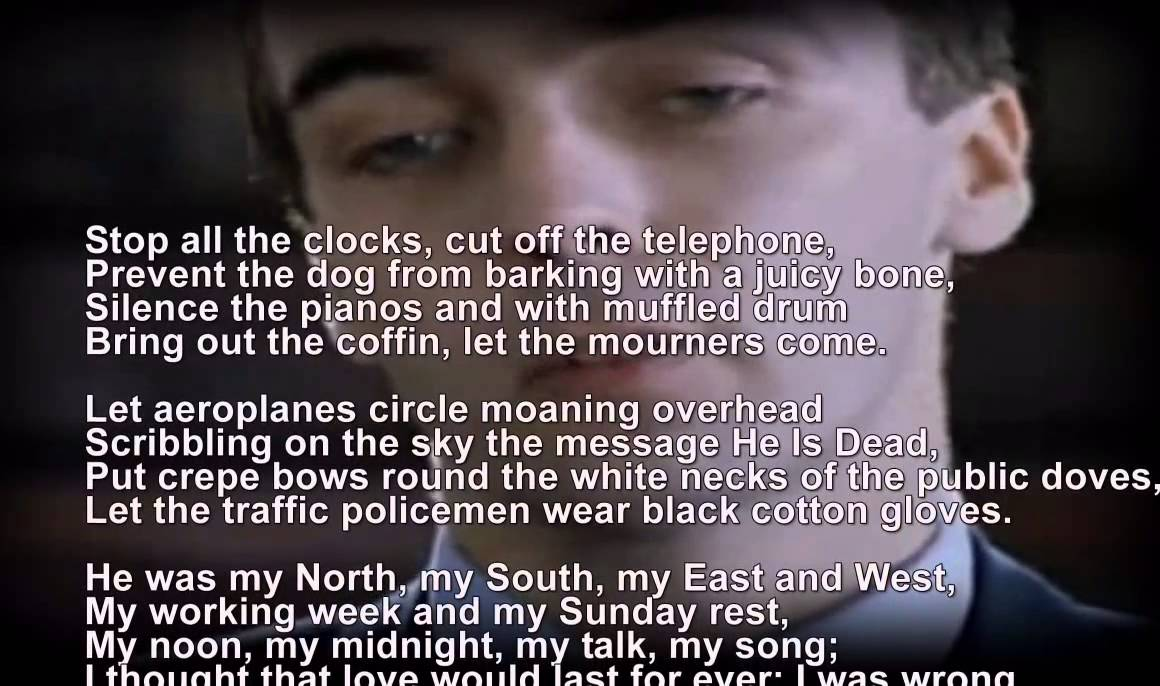 Funeral Blues Stop The Clocks Wh Auden Four Weddings