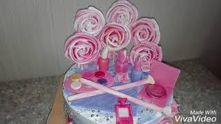 Торт для девочки 5 лет,торт с  косметикой! как сделать косметику из мастики