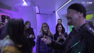 U2's Adam and Edge Visit the eXPERIENCE Bus in London (2015)