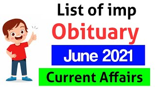 List of Important Obituary from 2021 June Month   Current Affairs MCQ देखे हिंदी and English में