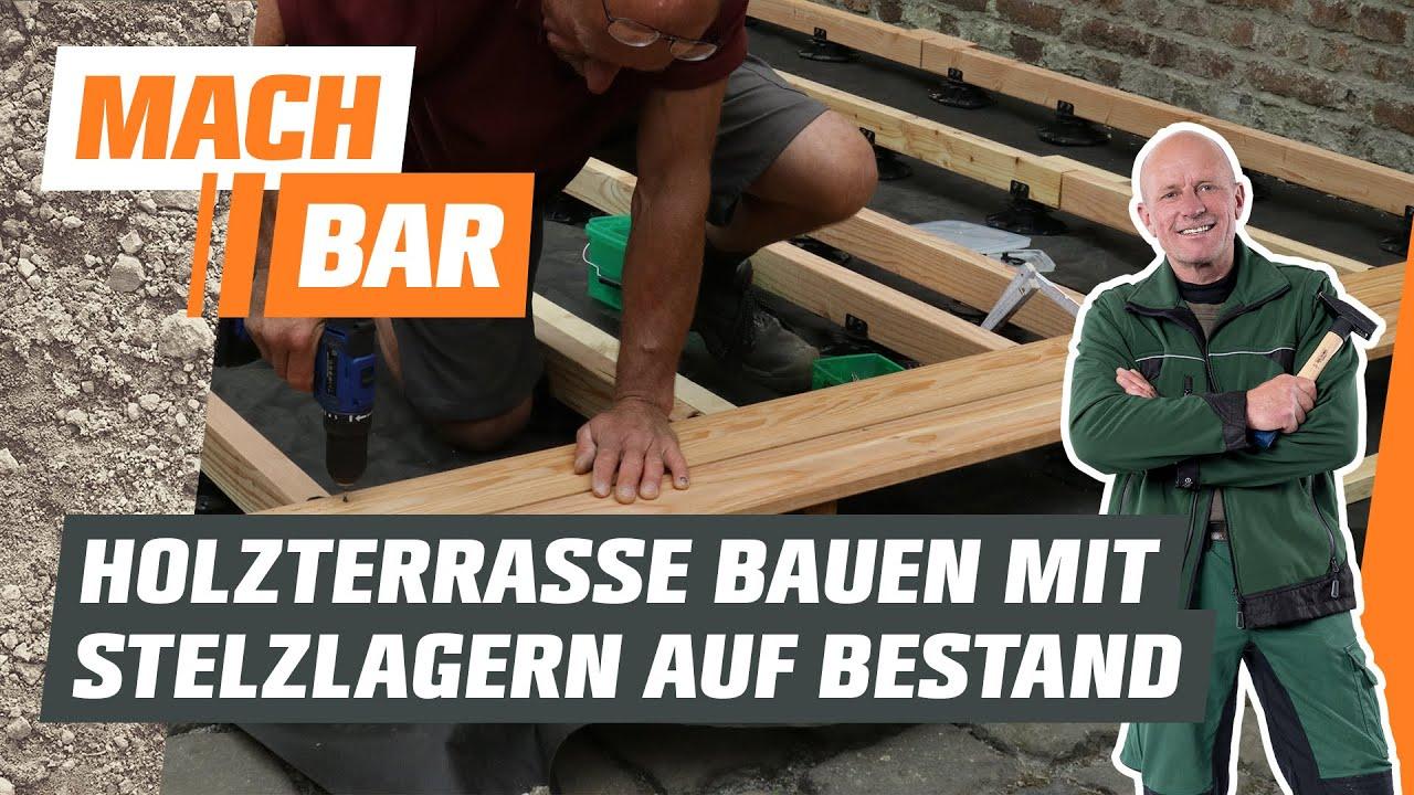Holzterrasse bauen auf Bestandsbelag - mit Stelzlagern | OBI
