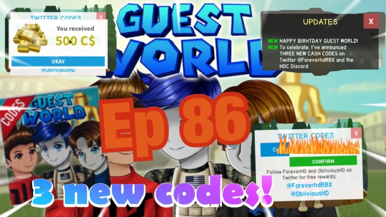 Roblox Guest World Episode 86 3 New Codes Happy 1 Year