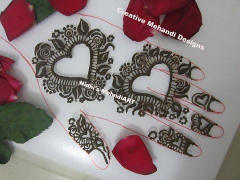 Pretty Heart Shape Floral Henna Mehndi Design For Valentine Day
