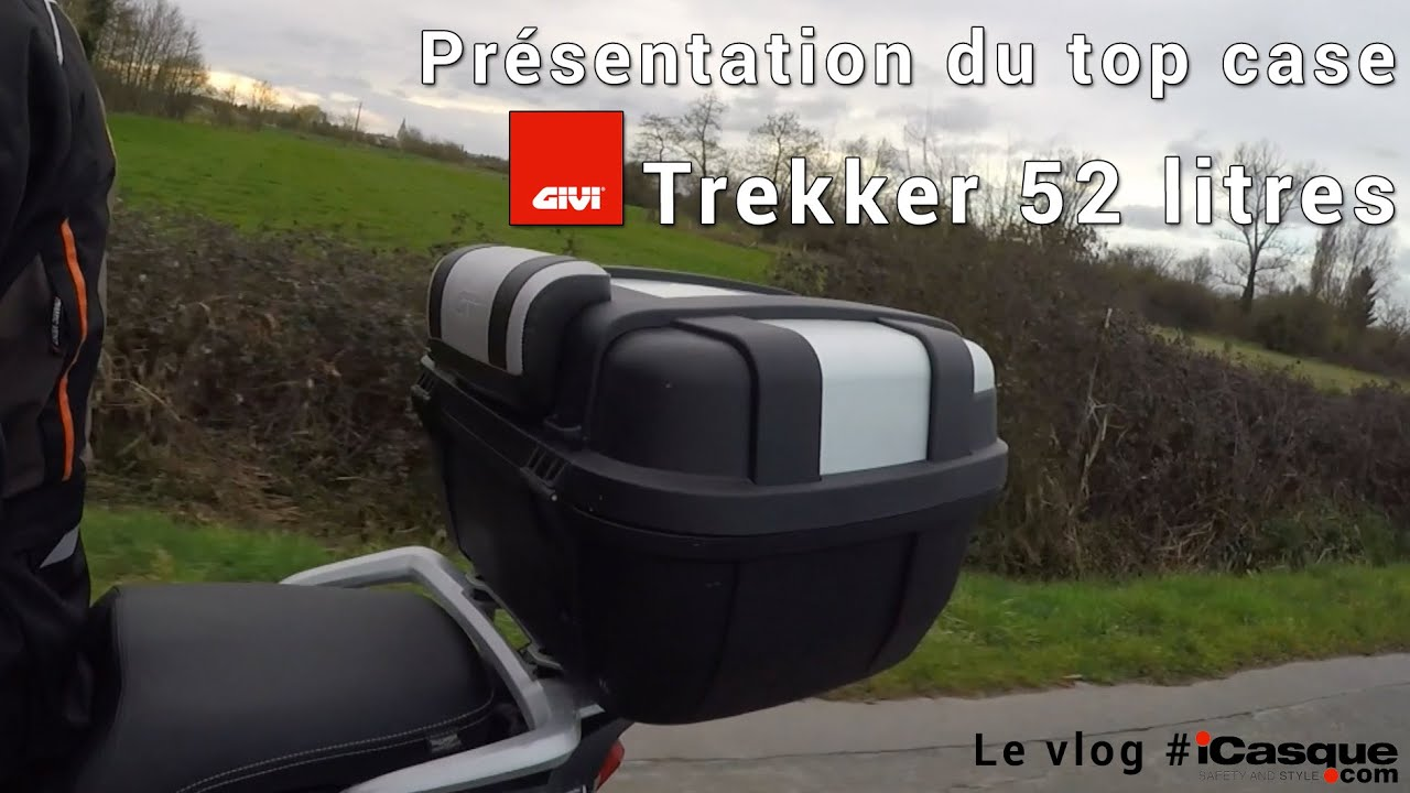 test du top case givi trekker 52 litres youtube. Black Bedroom Furniture Sets. Home Design Ideas