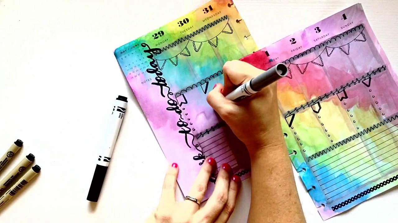 Plan With Me, Rainbow Watercolor with Bullet Journal ...