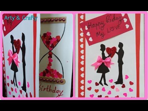 BDAY CARD#HANDMADE BIRTHDAY CARD#ROMANTIC B'DAY CARD#ELEGANT & UNIQUE B'DAY GREETING