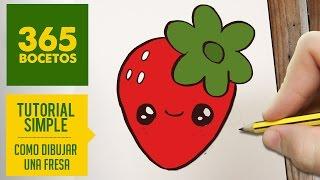 COMO DIBUJAR UNA FRESA KAWAII PASO A PASO - Dibujos kawaii faciles - How to draw a strawberry