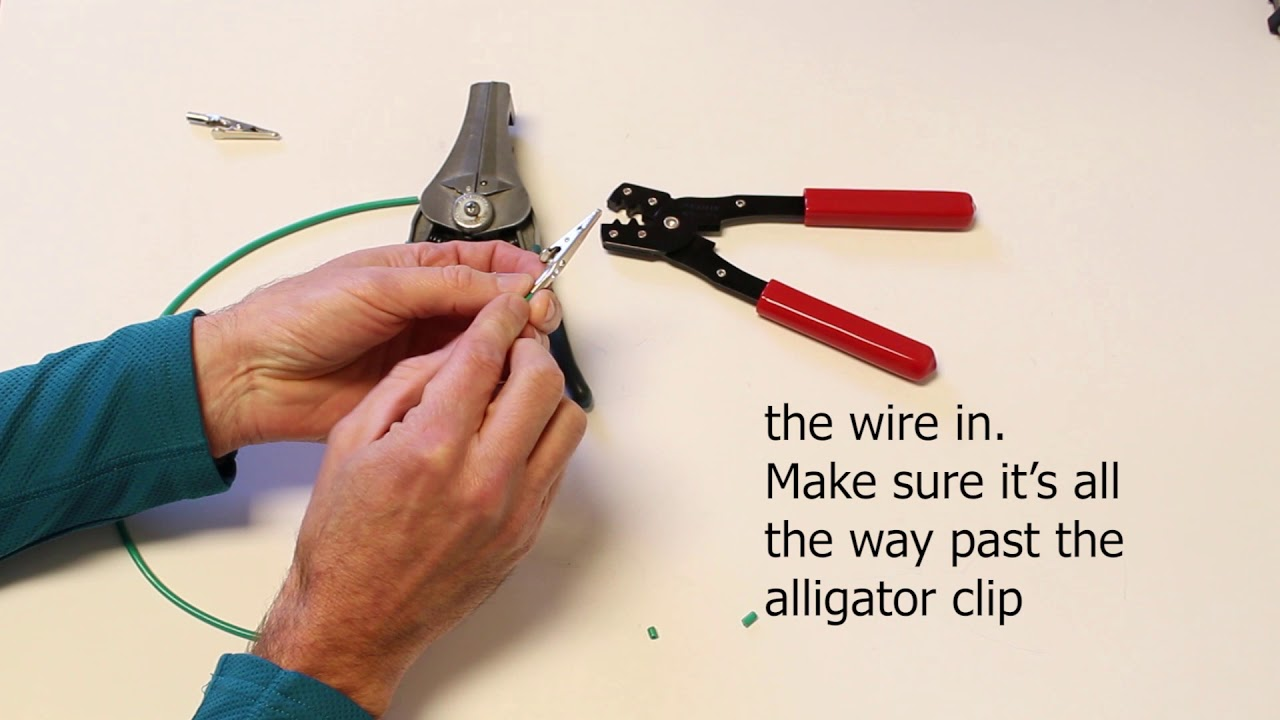 How to properly crimp an alligator clip onto a wire - YouTube