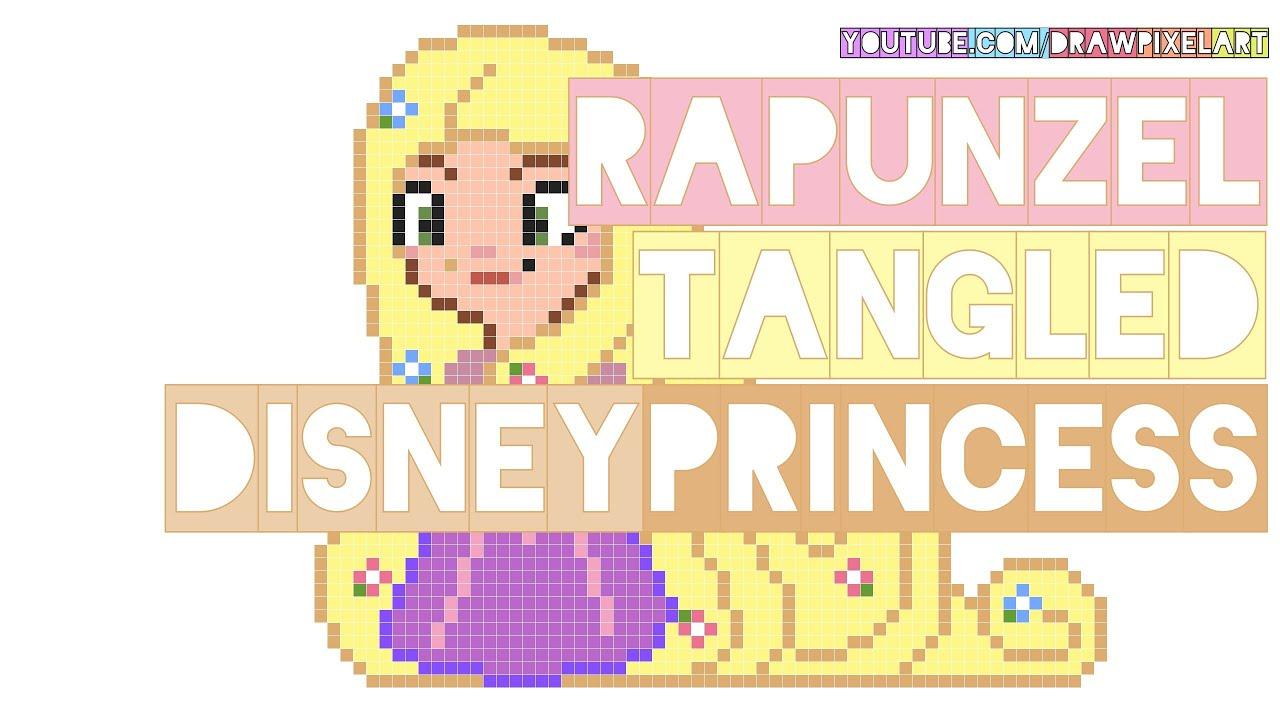 How To Draw Rapunzel Tangled Disney Princess Pretty Long Hair W Flowers Pixel Art Perler Beads