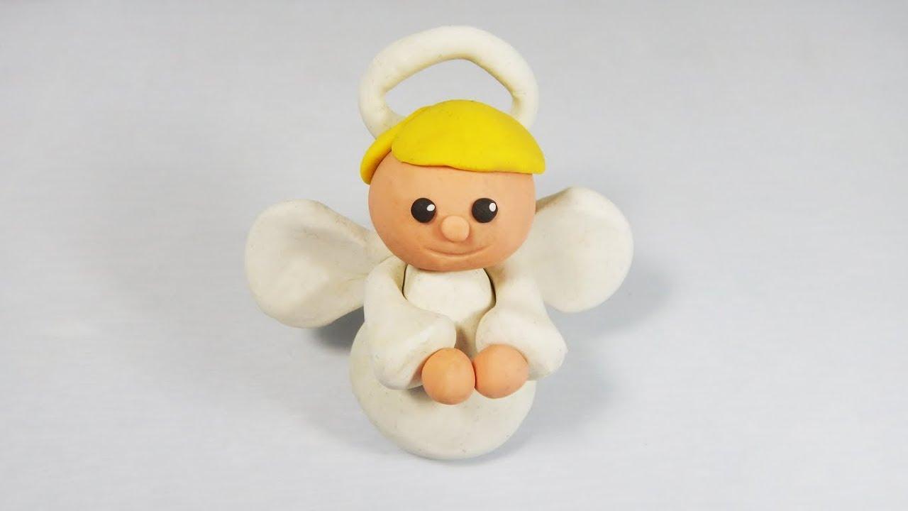 Cómo hacer un ángel de plastilina paso a paso fácil, angelito arcilla polimerica