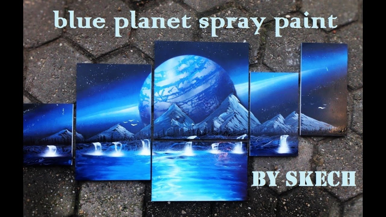 Spray Painting Art Blue Planet By Skech 3d Picture Youtube