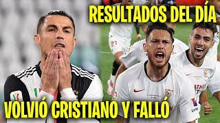 Cristiano Ronaldo falló un penal en el regreso del fútbol en Italia Resultados del día