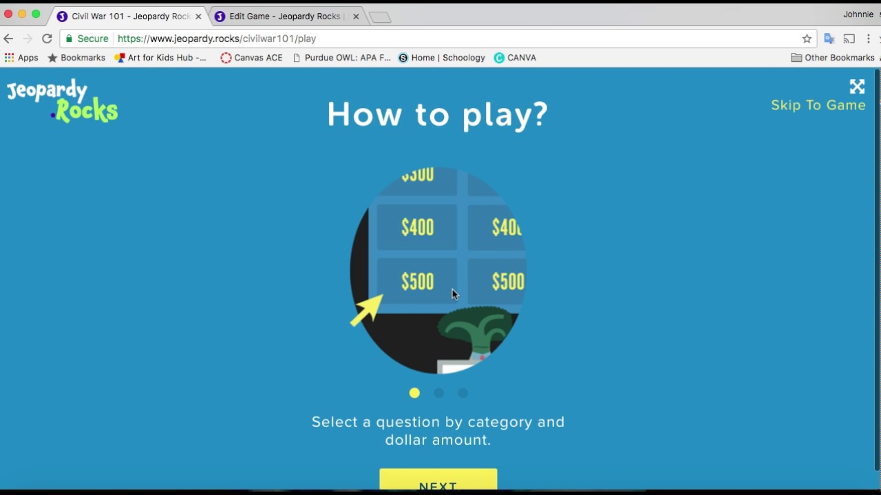 Make Your Own Jeopardy Activity