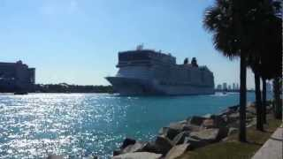 Norwegian Epic, Leaving Port of Miami, blows it's proud marine fog horn Part B