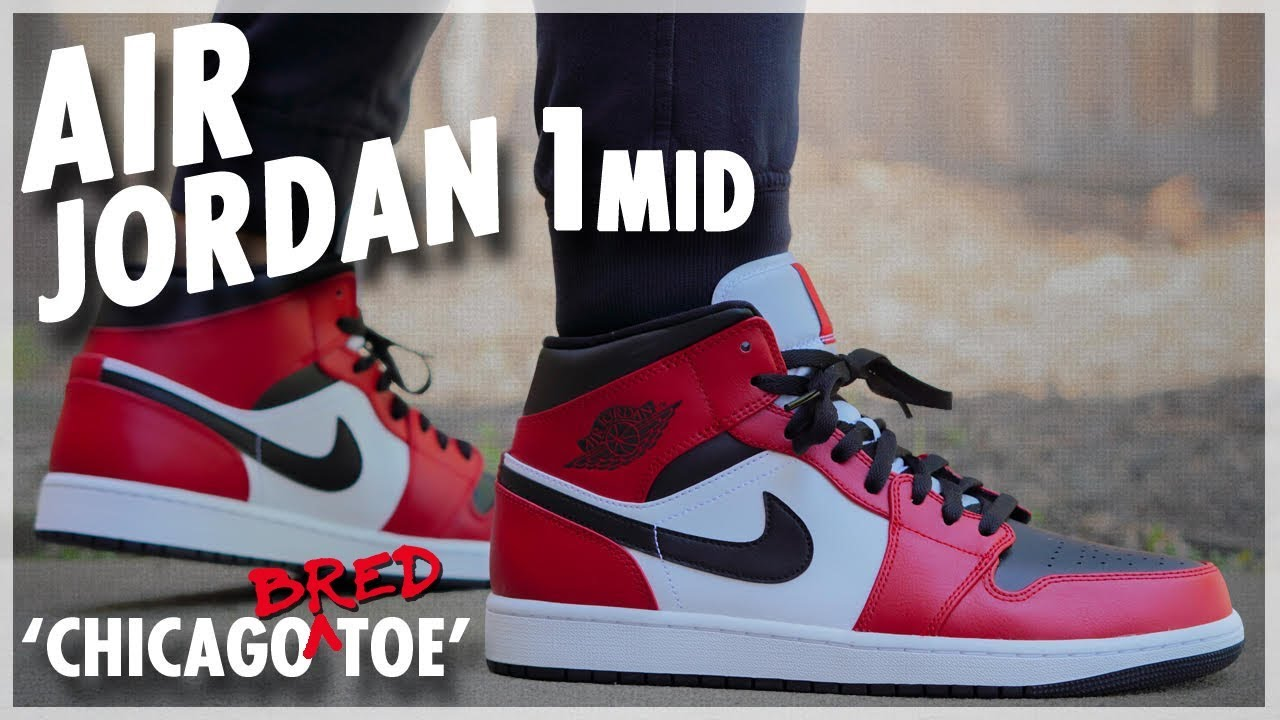 Air Jordan 1 Mid Chicago Bred Toe Youtube