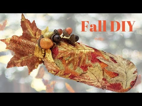 DIY Fall Leaf Wine Bottle Craft Decor With LOTS Of Glitter! (HD)