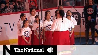 O Canada performed in Ojibway at Jets game