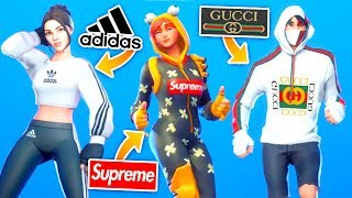 "I recreated ""Popular Clothing Brands"" on Fortnite Skins..!! (Gucci, Supreme, Adidas)"