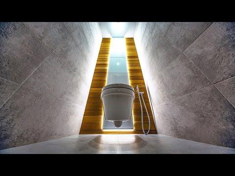 Идеи для ремонта - Стекло, Дерево и Плитка в туалете| Необычный дизайн туалета своими руками
