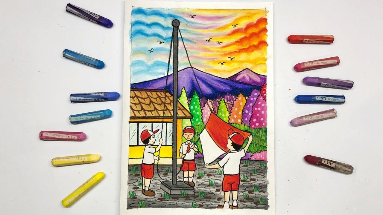 Cara Menggambar Dan Mewarnai Kemerdekaan RI 17 Agustus Dengan Crayon Oil Pastel