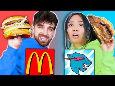 McDONALDS vs MRBEAST BURGER Food War! Taste Test Eating Challenge for 24 Hours by Spy Ninjas - Daniel Gizmo