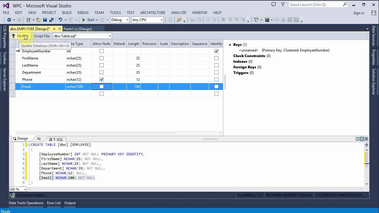 Create Visual Studio 2013 C# Project with Database, Input Form, ListView