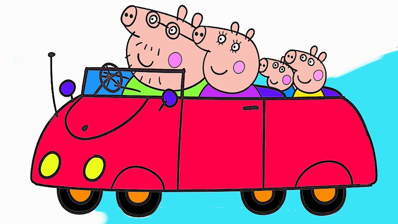 Peppa Pig  Parte 1  Colorear a Peppa Pig y su Familia  Juego de