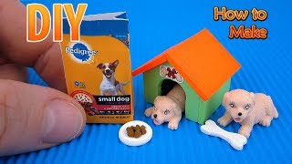DIY Miniature Dog House with Bone and Pedigree bag | DollHouse