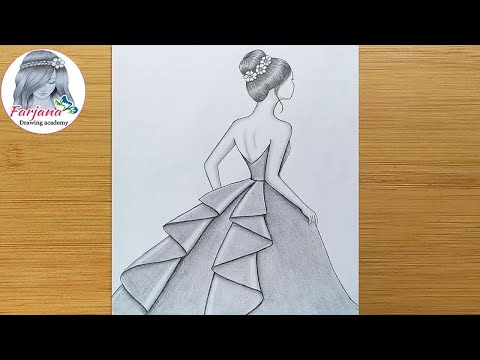 How to draw a girl with beautiful dress - step by step || Pencil sketch