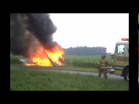Car flips, catches fire in Providence Township