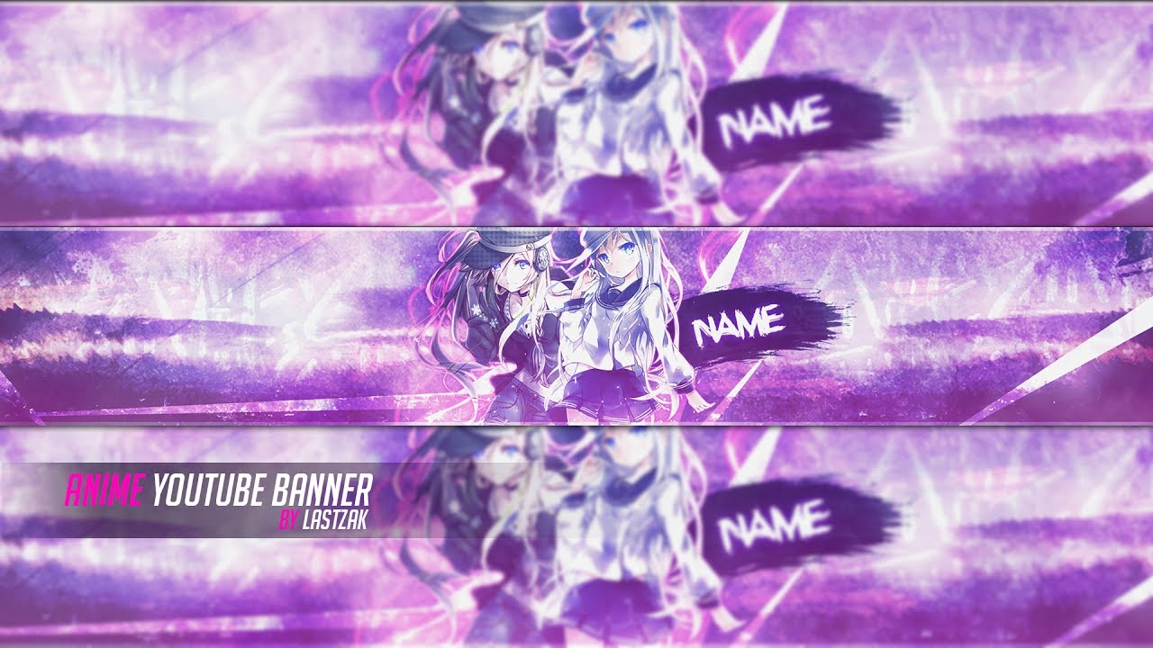 free anime youtube banner psd template   tutorial 2017