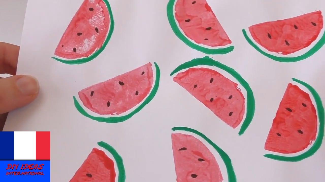 Peinture Avec Des Morceaux De Pasteque Tampon Dessin Creatif Youtube