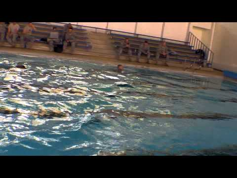100 meter swim in Military Uniform