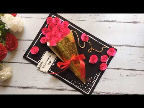 Friendship day card/birthday handmade greeting card/valentine's Day card II roses banquet