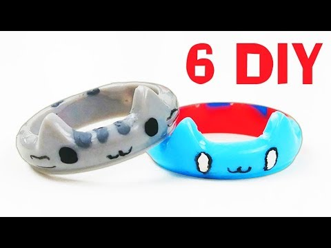 How To Make 6 Cats Resin Rings DIY Tutorial 5 minute crafts Pusheen Catbug Simon's cat Nyan cat