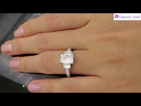 GIA 3 11CT ANTIQUE VINTAGE DECO EMERALD CUT DIAMOND ENGAGEMENT WEDDING RING PLAT