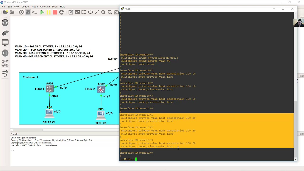 Private VLAN - Inter VLAN Routing - Trunking - DHCP - Standard Access List