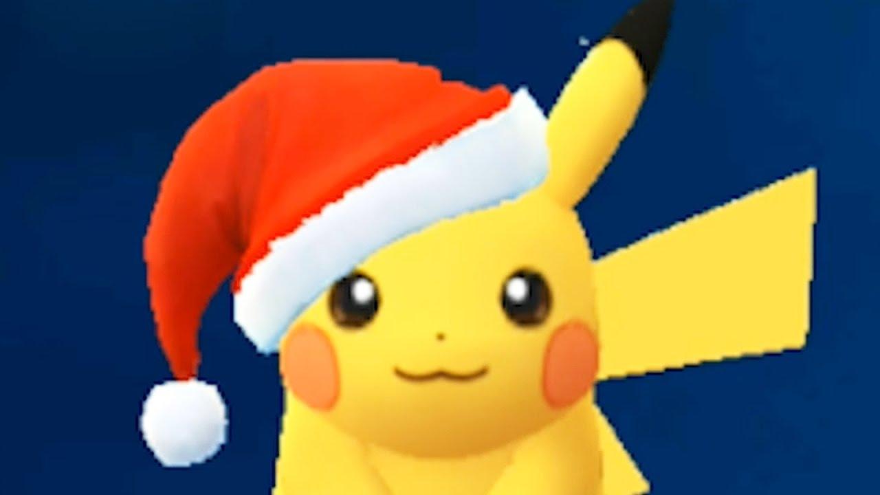 Christmas Pikachu.Pokemon Go Christmas Hat Pikachu No Commentary