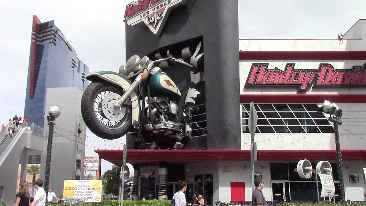 giant motorcycle crashes through harley davidson cafe las vegas