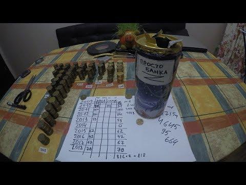 Сколько 10 рублевых монет в банке из под пива 1 литр? Разбил копилку! Частота встречаемости.